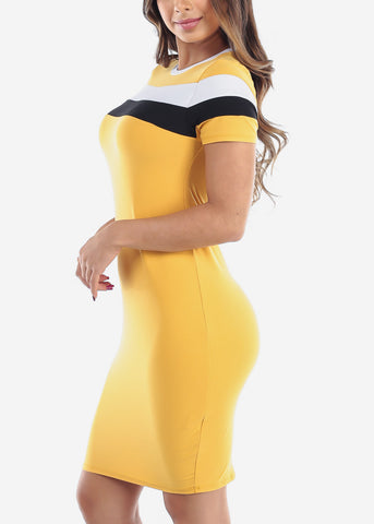Cute Sexy Stylish Tight Fit Mustard Stripe Bodycon Midi Dress For Women Ladies Junior