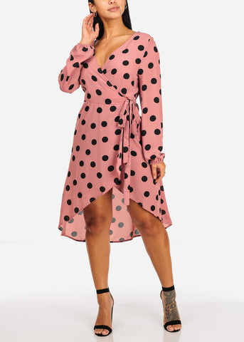 Image of Wrap Front Mauve Black Polka Dot Dress