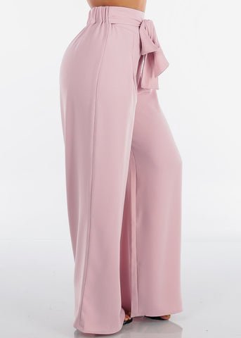 Women's Junior Ladies Sexy Elegant Dressy High Waist Solid Mauve Light Pink Wide Legged Pants With Attached Belt