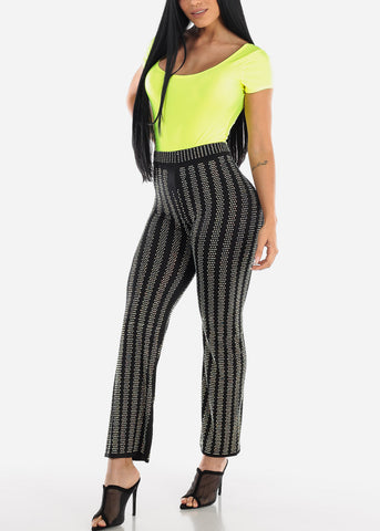 Deep Round Neck Neon Green Bodysuit