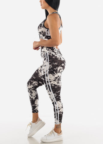 Image of Gray Tie Dye Sports Bra & Leggings Set
