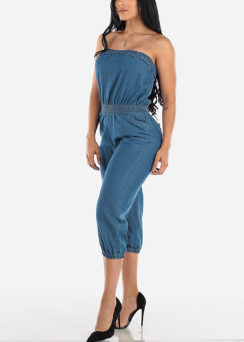 Strapless Light Wash Cropped Jumpsuit