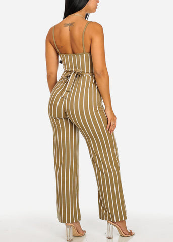 Image of Sexy Olive Stripe Jumpsuit