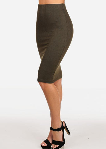 Women's Junior Ladies Professional Business Office Career Wear Sexy Pencil Pull On Stripe Olive Midi Skirt