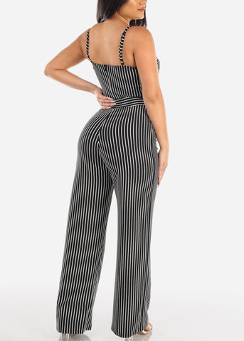 Sexy Black And White Stripe Spaghetti Strap Padded Bust Jumpsuit