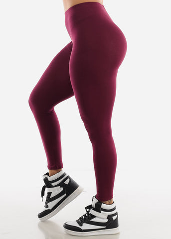 Burgundy High Waist Leggings