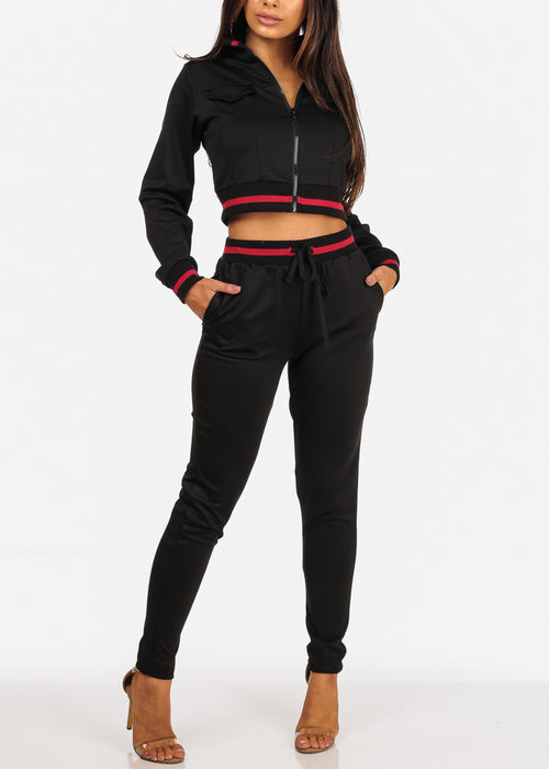 Red Stripe Black Cropped Jacket With High Rise Drawstring Waist Pants (2PCE SET)