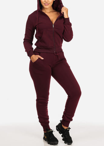 Image of Cozy Burgundy Sweater W Fuzzy Hoodie