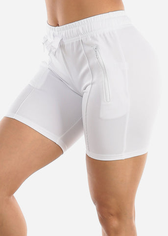 Image of White Track Midi Shorts