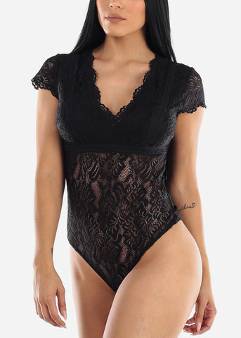 Sexy V Neck Black Lace Bodysuit