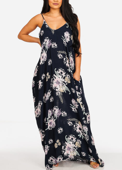 Stylish Sleeveless Navy Floral Print Flowy Sun Dress