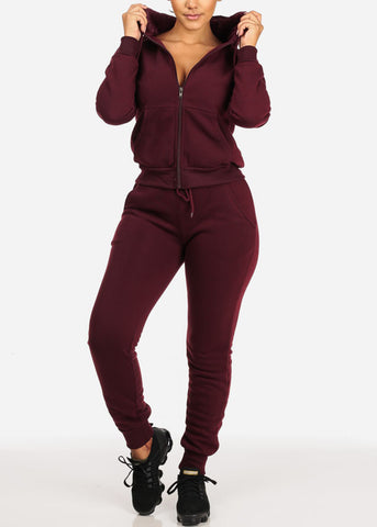 Image of High Rise Burgundy Jogger Pants