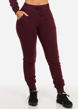 High Rise Burgundy Jogger Pants