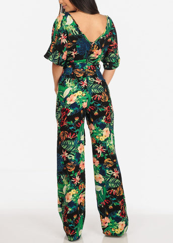 Women's Junior Ladies Sexy Trendy Going Out Beach Vacation Out Of Town Night Out Tropical Floral Print Wide Legged Black Jumper Jumpsuit