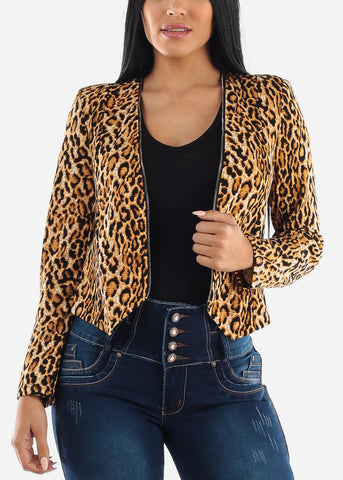 Image of Leopard Print Back Rips Jacket