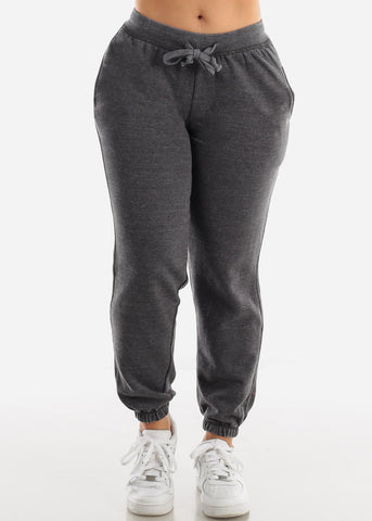 Charcoal Drawstring Fleece Sweatpants