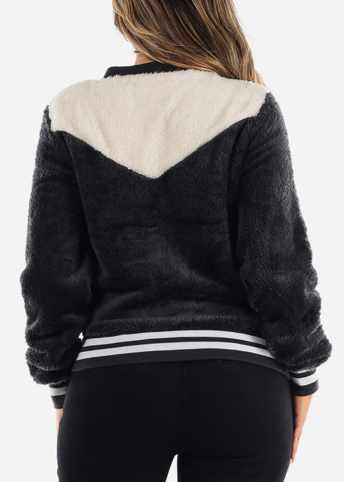 Fluffy Charcoal Bomber Jacket
