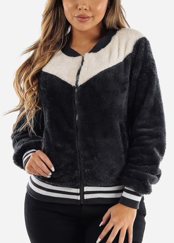 Image of Fluffy Charcoal Bomber Jacket