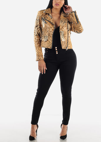 Animal Print Zip Up Jacket