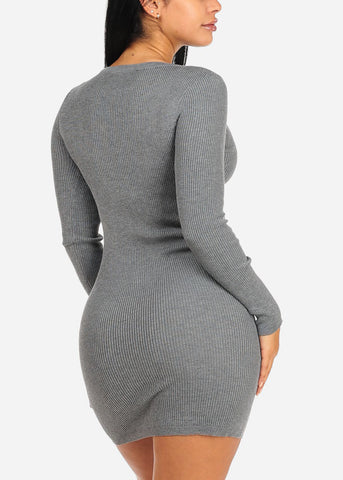 Image of Grey Lace Up Knitted Dress