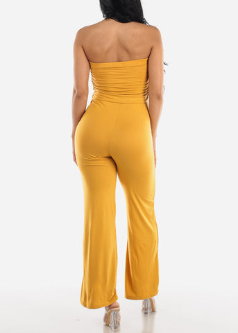 Image of Wide Legged Strapless Mustard Jumpsuit