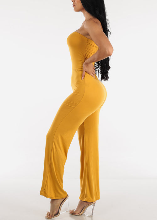 Wide Legged Strapless Mustard Jumpsuit