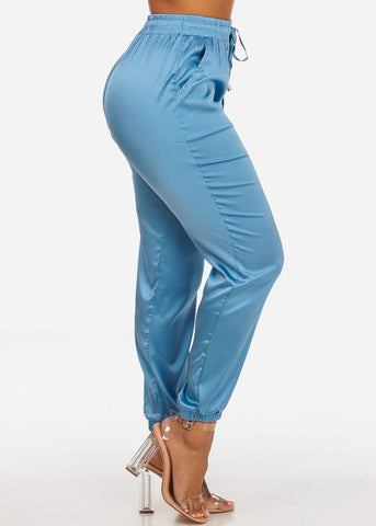 Stylish High Rise Elastic Waist Jogger Pull On Lightweight Blue Pants