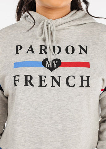 "Image of Grey Cropped Sweater ""Pardon My French"""