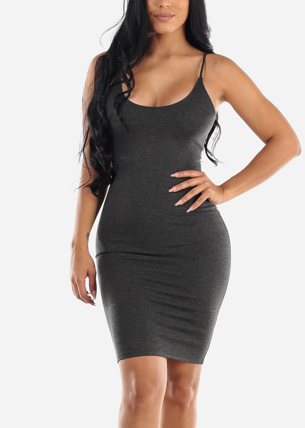 Spaghetti Strap Charcoal Bodycon Dress