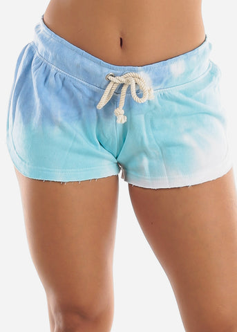 Image of Dolphin Hem Blue Tie Dye Shorts