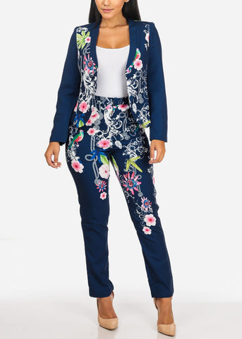 Image of Floral Print Navy Blazer W Pants (2PCE SET)