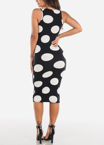 Black Polka Dot Bodycon Midi Dress
