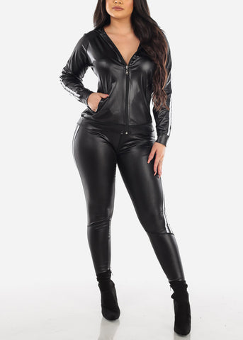 Black Pleather Jacket & Pants (2 PCE SET)