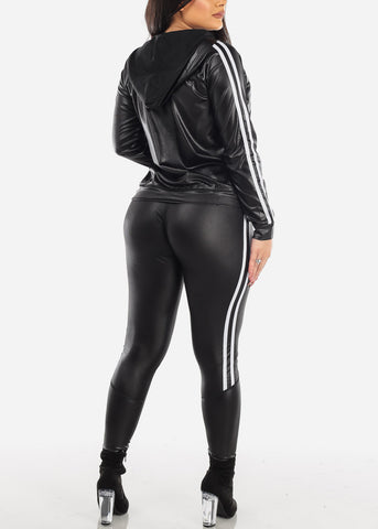 Image of Black Pleather Jacket & Pants (2 PCE SET)