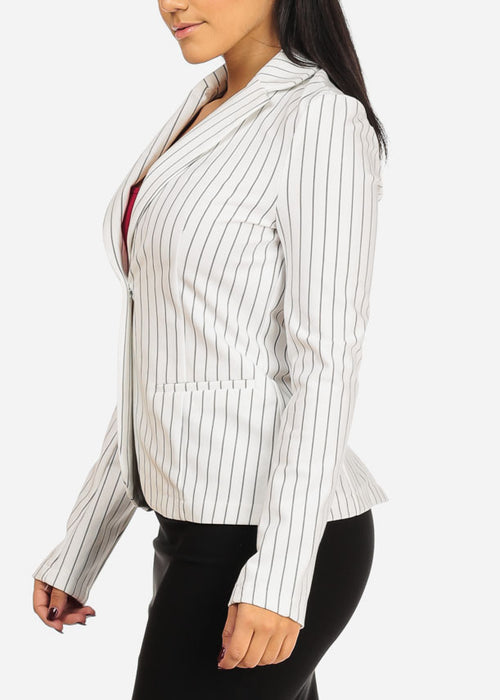 Classic One Button White Stripe Blazer