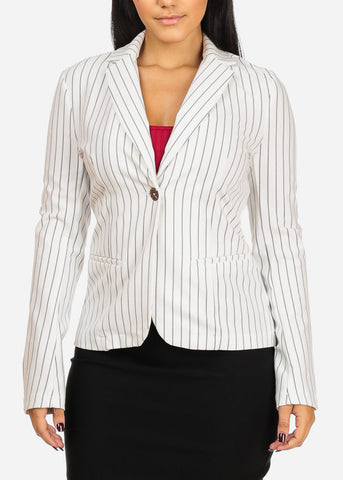 Image of Classic One Button White Stripe Blazer