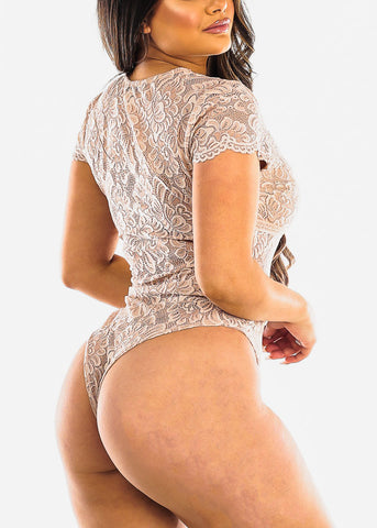 Image of Sexy V Neck Nude Lace Bodysuit
