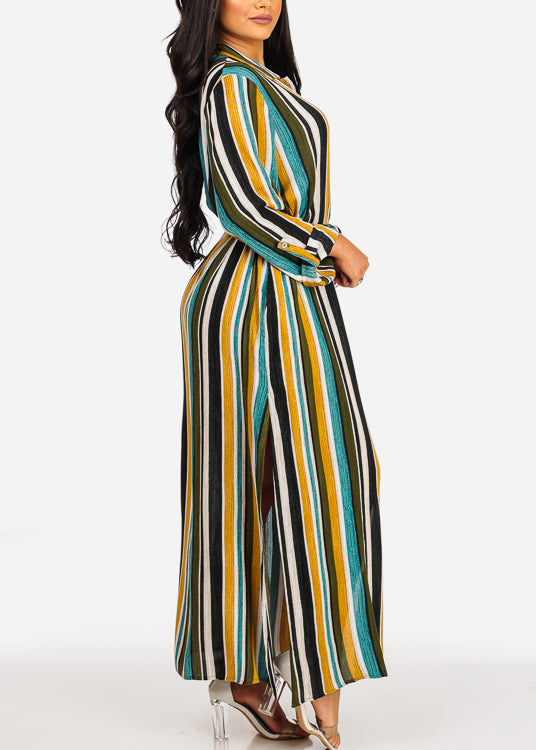 Summer Lightweight Green Stripe Print 3/4 Sleeve Dress