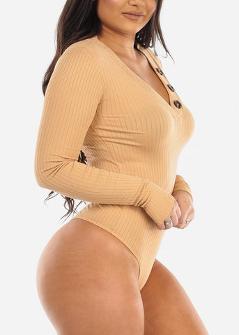 Image of Button Front Beige Long Sleeve Bodysuit