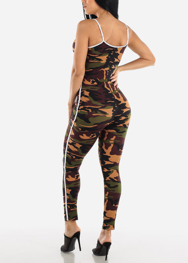 Spaghetti Strap Camouflage Jumpsuit
