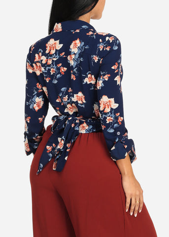 Navy Floral Print Wrap Front Top