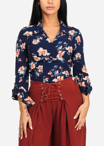Image of Navy Floral Print Wrap Front Top