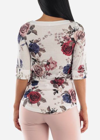 Image of Ivory Floral Print Top