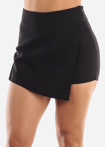 Image of Black Wrap Front Skort