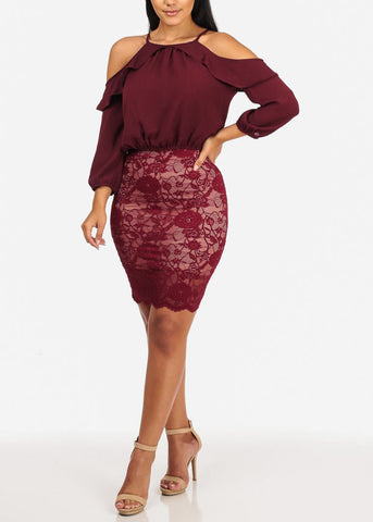 Lightweight Cold Shoulder Ruffle Detail 3/4 Sleeve Wine Top W Elastic Waist