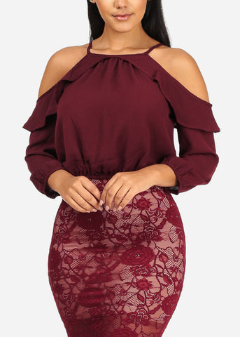 Image of Lightweight Cold Shoulder Ruffle Detail 3/4 Sleeve Wine Top W Elastic Waist