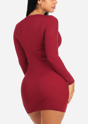 Red Lace Up Knitted Dress