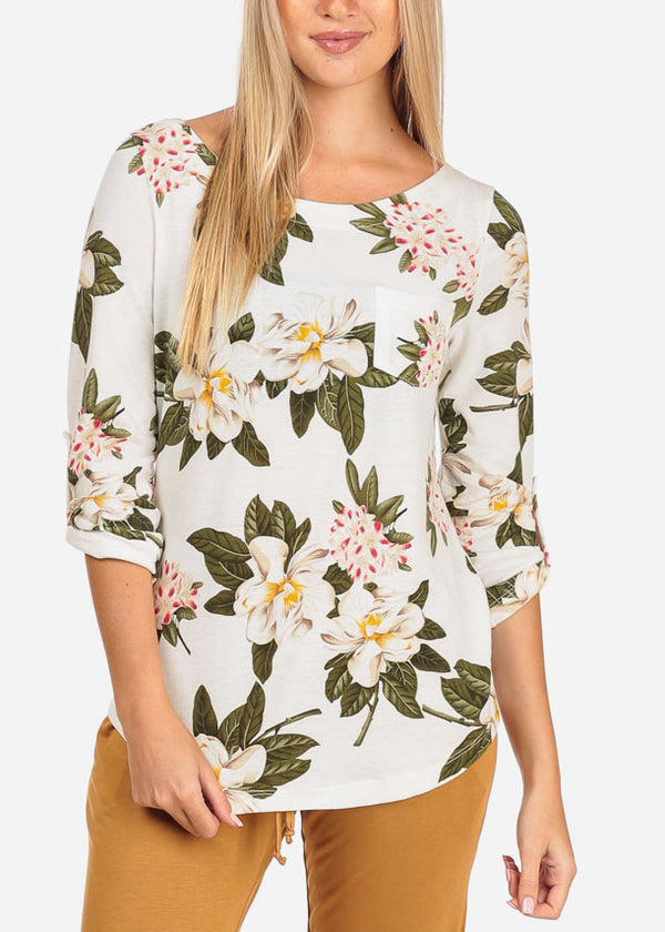 Women's Junior Stylish Going Out Casual 3/4 Sleeve Ivory Floral Print Top