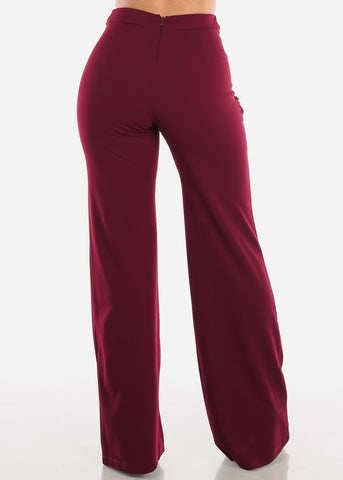 High Rise Dressy Wine Pants