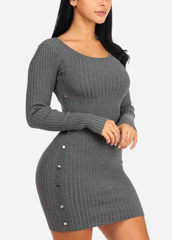 Grey Silver Button Knitted Dress